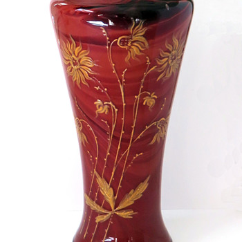 Unusual Enameled Rindskopf Red Marbled Vase  - Art Glass