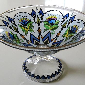 Art Deco Fachschule Bowl Haida/Steinschoenau Bohemia 20Cent - Art Deco