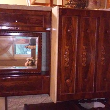 1800's burl wood dresser with mirror marble top