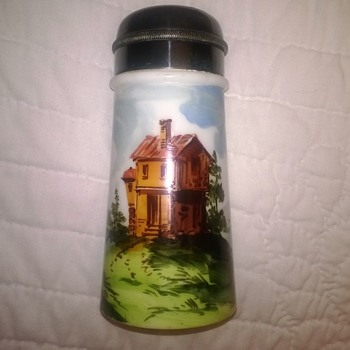 Decorated Milk Glass Sugar Shaker - Glassware