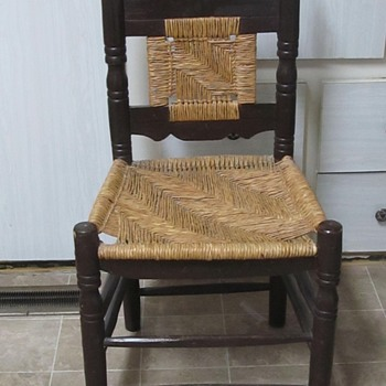 Old looking black wood chair  - Furniture