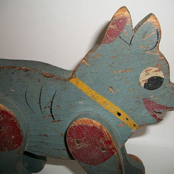 Wood Folk Art Dog Pull Toy in Original Blue Paint Handmade - Toys