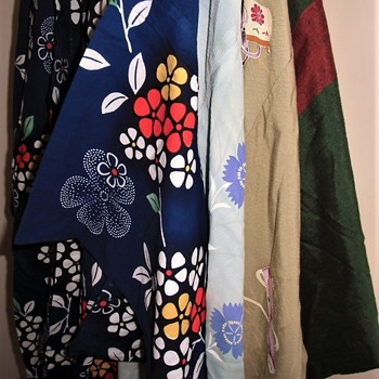 Small part of my collection of vintage handmade silk Japanese kimonos and coats - Asian