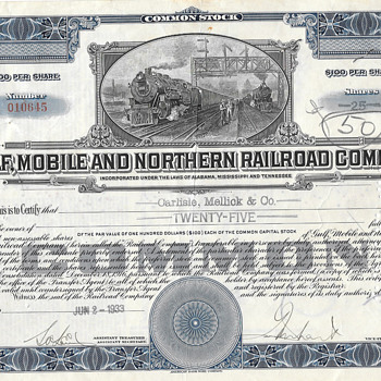 Rail-road Stock Certificates  - Railroadiana