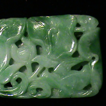 "Highly Carved Green & White Jade Pendant~Bird Lotus & ""Hidden"" Frog~"