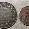 1920 Canadian large and small cent