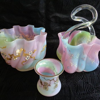 Harrach rainbow glass trio - Art Glass