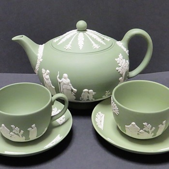 Green Wedgwood Jasperware Teapot and Cup and Saucers  - China and Dinnerware