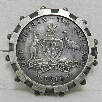 1916 M Australian Two Shillings One Florin Coin - Sterling Silver - Silver