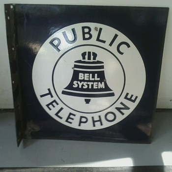 Bell System Public Telephone Flange Sign - Signs