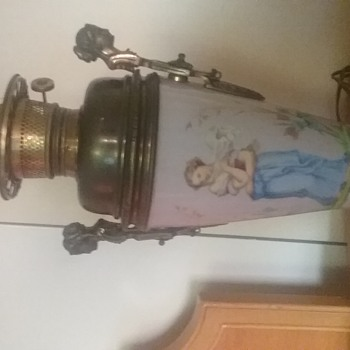 VICTORIAN LADY LAMP GLASS AND BRONZE OIL ELECTRIC