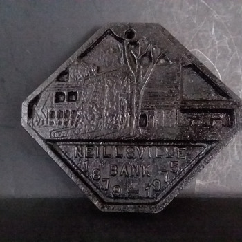 Neillsville (Wisconsin) Bank cast iron trivet, 1975 - Kitchen