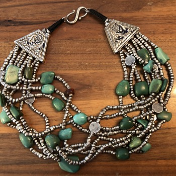 Asian Sterling Silver Turquoise Necklace - Fine Jewelry
