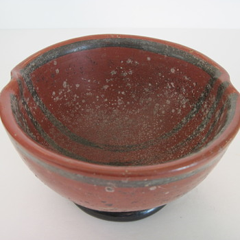 Early Black Painted Lines on Red Pottery Bowl - Pottery