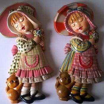 1960s/1970s Ceramica Convento Jesus Maria Aracena Wall Plaques - Pottery