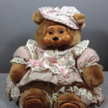 Teddy Bear with wooden face & feet - Dolls
