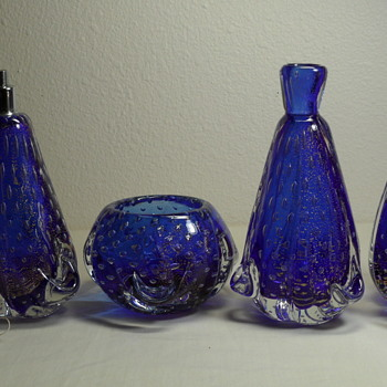 Cobalt Blue Aventurine Bullicante 4pc set.  Venetian Glass. - Art Glass