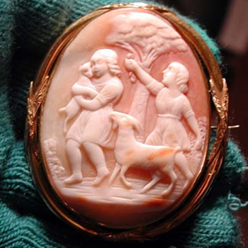 Lovely cameo of 2 girls-boys with goats - Victorian Era