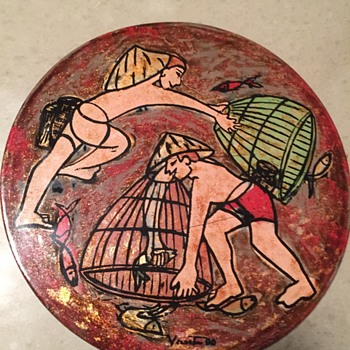 Painting on Round Panel - Artist? - Folk Art