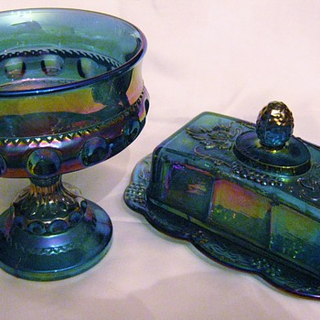 Blue Carnival Glass