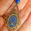 Antique Georgian Blue Enamel Gilt Silver Lavaliere 14k Swedish