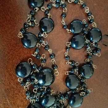 Vintage 1920's (?) LONG Black Glass beaded chain necklace - Costume Jewelry