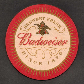 """Budweiser"" Beer Coaster - Breweriana"