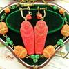 Art Deco Egyptian Revival Czech Glass Necklace Lucky Scarab & Mummy Earrings