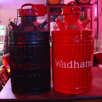 Embossed Ten Gallon Wadham Oil Cans - Petroliana