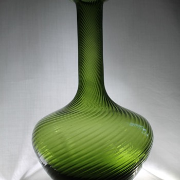 Unknown Olive Green Spiral Ribbed Vase or Decanter - Art Glass