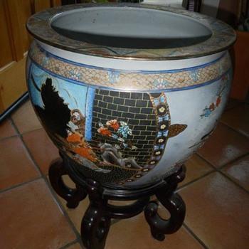 Asian Vintage Fish Bowl Planter - Asian