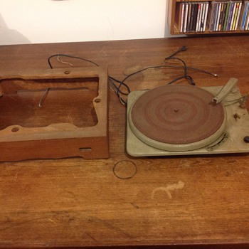 vintage all metal turntable phonograph with base