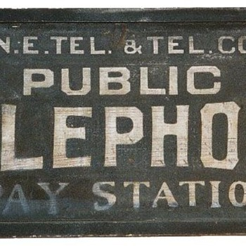N.E. Tel. & Tel. Co. Public Telephone Pay Station Rectangle Sign - Signs