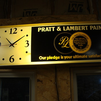 PRATT & LAMBERT PAINT lighted clock........... - Clocks
