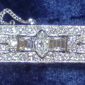 """Lucille M. Bell, wife of Lawrence Dale """"Larry"""" Bell, Platinum and Diamond  Bracelet, Mid 1940's - Fine Jewelry"""
