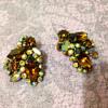 Weiss? Rhinestone clip earrings in amber colour