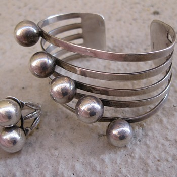 Machine-age sterling cuff and ring