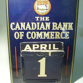1940's -- Metal Bank Calender - Advertising
