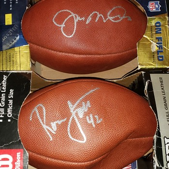 Joe Montana Ronnie Lott signed footballs - Football