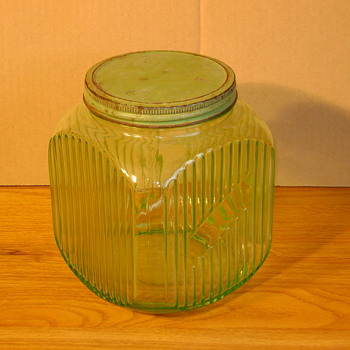 Vaseline Glass Hoosier Jar - Kitchen