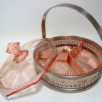 Pink Depression Glass Candy/Condiment Dish in metal basket - Glassware