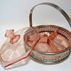 Pink Depression Glass Candy/Condiment Dish in metal basket