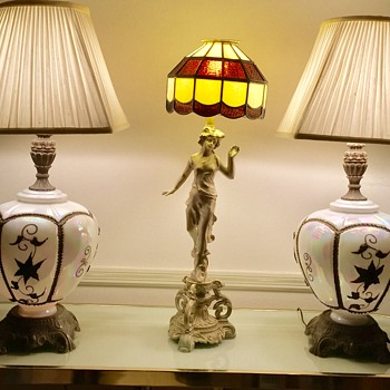 Old Cast Metal Figural Table Lamp Stained Glass Shade My Dog Found - Lamps