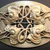 Antique Art Nouveau Brass C Clasp Sash Ornate Brooch Pin Gold Tone