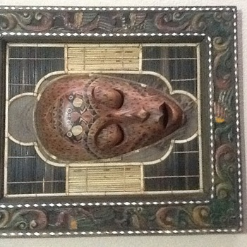 Workart  handcraft face framed wood  - Folk Art