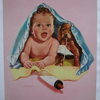 Vintage little baby boy illustration.