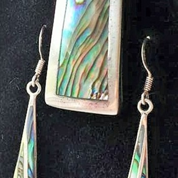Sterling Silver & Abalone-Necklace & Earrings - Fine Jewelry