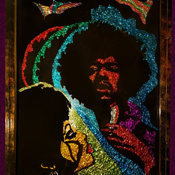 Original JIMI HENDRIX Hippie Foil Folk Art signed & Dated 1972 - Fine Art