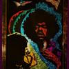 Original JIMI HENDRIX Hippie Foil Folk Art signed & Dated 1972