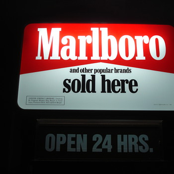 VINTAGE TOBACCIANA ADVERTISING MARLBORO CIGARETTE SIGN & MARLBORO RACING CAR LIGHT-UP SIGN - Signs